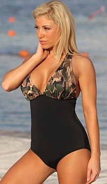 Bathing Suits for Women Over 40 Full Coverage shaping camo accent