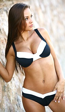 Bikinis for Women Over 40 Black and White Shaper Bottom with Full Support Underwire Top