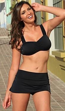 Bikinis for Women Over 40 Skirted Black Bottom with Banded Full Support Top