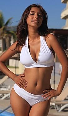 Bikinis for Women Over 40 White Full Coverage Banded Bottom with White Halter Top