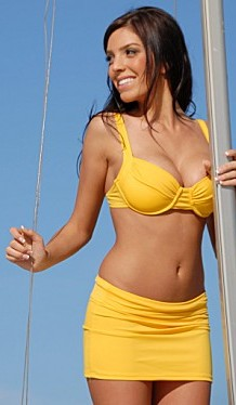 Bikinis for Women Over 40 Yellow Skirted with Underwire Top