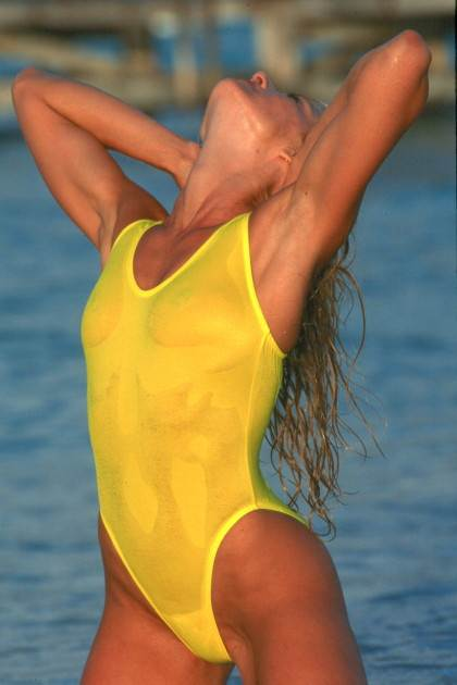 Yellow bikini see through and have
