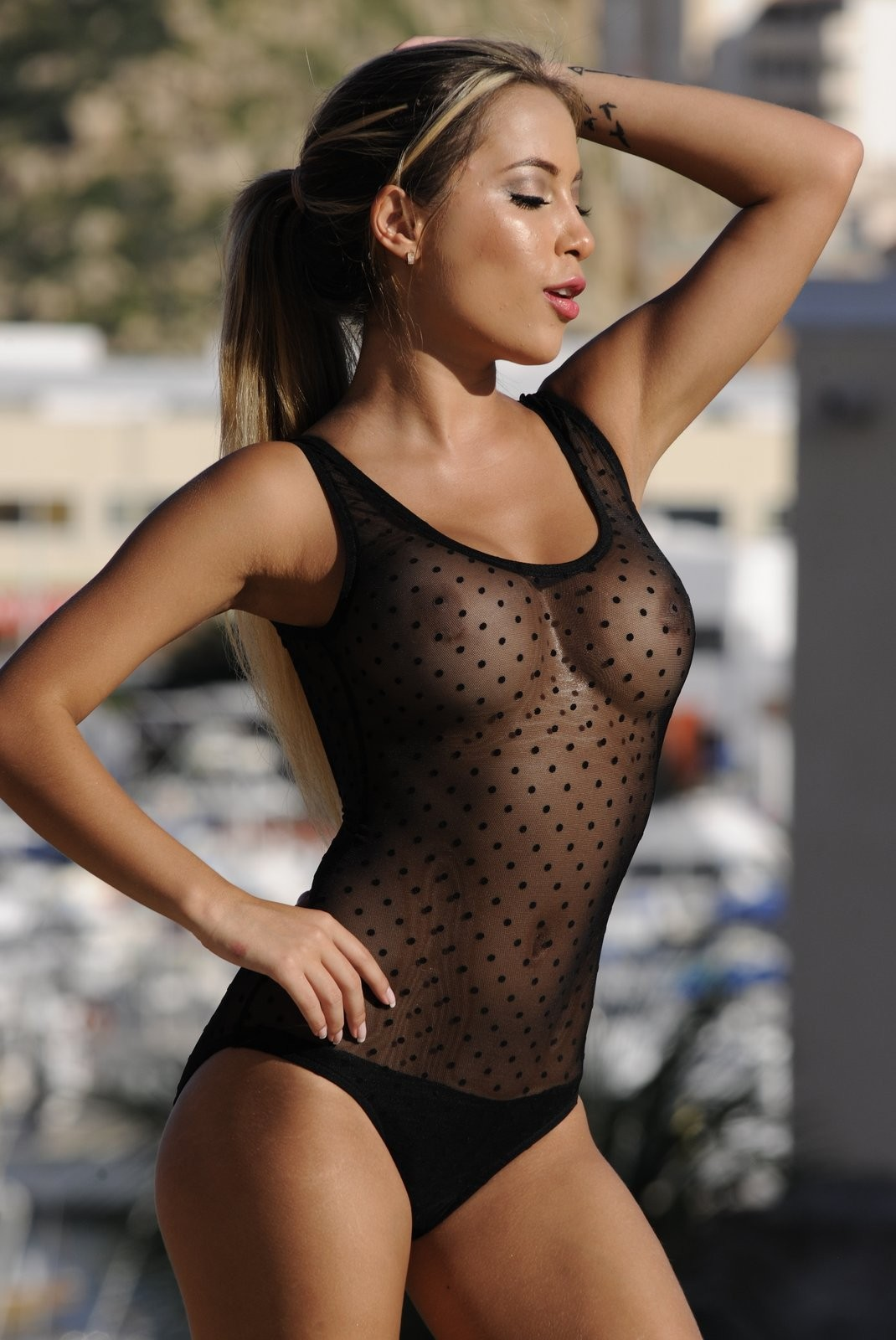 Girls in see through swimsuits