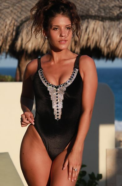 Black Velvet High Cut Elegant Swimsuit