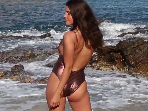 Cheeky-Bronze-Copper-Liquid-Metal-One-Piece-Swimsuit