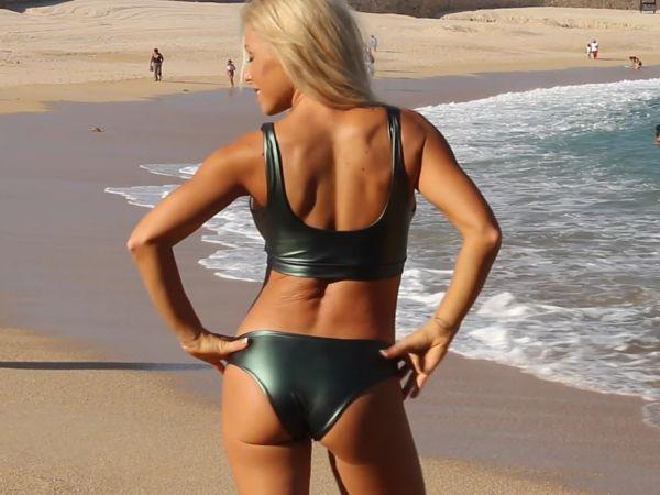 Liquid-Metal-Wet-Look-Green-Bikini