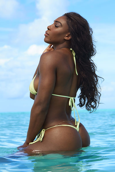 Serena-Williams-Yellow-Gstring-Bikini-Ocean